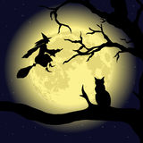 Black Cat on the Tree at full Moon. Vector Stock Image
