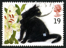 Black Cat UK Postage Stamp. GREAT BRITAIN - CIRCA 1995: A used postage stamp from the UK, depicting an illustration of a black cat, circa 1995 Stock Photos