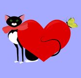Black cat valentine Royalty Free Stock Images