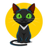 Black cat. Vector. funny pet Stock Image