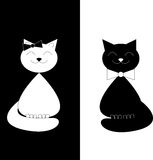 Black cat, white cat Royalty Free Stock Photography