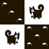 Black cat and white mouse 3x5 Royalty Free Stock Photography