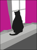 Black cat at window. A black cat sitting at the window sill with purple curtains, looking out through the window vector illustration