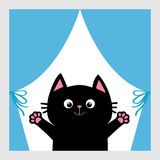 Black cat in the window. Curtain with bow. Open hand paw print. Kitty reaching for a hug. Funny Kawaii animal. Baby card. Cute car Stock Photography