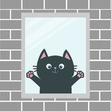Black cat in the window. House brick wall. Open hand paw print. Kitty reaching for a hug. Funny Kawaii animal. Baby card. Cute car Royalty Free Stock Photos