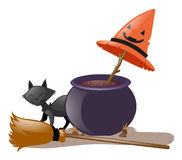 Black cat and witch pot Stock Photos