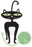 Black Cat Yarn Royalty Free Stock Photography