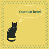 Black cat on a yellow background Royalty Free Stock Photo