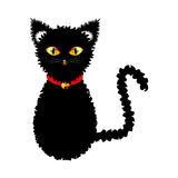Black Cat with Yellow Eyes and Golden Ball Bell Red Choker. Halloween Day. Vector Illustration .  on white Background.  Stock Images