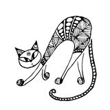 Black cat, zentangle style for your design Royalty Free Stock Photos