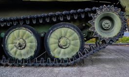 Caterpillar of an old military tank stock photos
