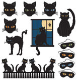 Black Cats. Vector art in Illustrator 8. Not too scary black cats with huge eyes in four colors Royalty Free Stock Images