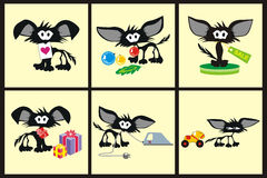 Black cats. In different situations illustration Royalty Free Stock Images