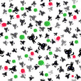 Black cats and balls of wool seamless pattern Stock Images
