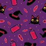 Black cats, Crystals and Wizard Hats Pattern on Violet Background. Halloween Illustration Stock Photography