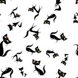 Black cats different size and poses. Seamless pattern, vector illustration Royalty Free Stock Photos