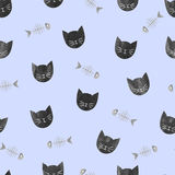 Black cats and fish bones pattern. Stock Image