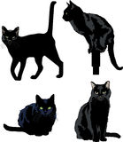 Black Cats. Illustration of black cats in various poses Stock Photos
