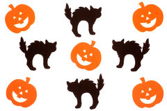 Black cats and jack o lanterns Stock Image