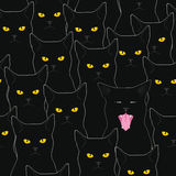 Black cats pattern. Seamless pattern with staring cats and one screwed-up