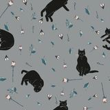 Black cats and pink roses with green leaves on gray background illustration. Seamless pattern. royalty free illustration
