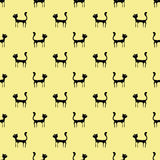 Black Cats Seamless Pattern Stock Image