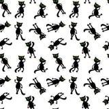 Black cats seamless pattern Stock Photo