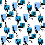 Black cats seamless pattern Royalty Free Stock Photography