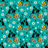 Black cats seamless pattern Royalty Free Stock Images