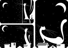 Black cats set. Illustration with black and white night cat's silhouettes Stock Photography