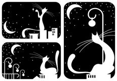 Black cats set. Illustration with black and white night cat's silhouettes Royalty Free Stock Image