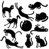 Black cats set. Vector set of 10 black cats in cartoon style Stock Images