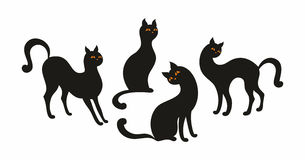 Black cats set. Vector  set with the image of the silhouettes of beautiful graceful cats Stock Image