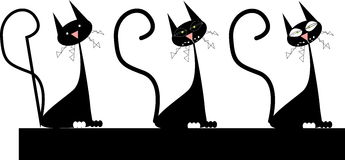 Black cats. Vector illustration of the black cats Stock Photos