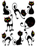 Black cats icons set (vector). A set of 8 cute black cats in various poses. All layers are signed, easy editable. Have a good day Royalty Free Stock Photo