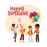 Black and Caucasian boys, kids with balloons, birthday hats, gifts. Happy birthday vector greeting card, poster, banner design with Black and Caucasian boys stock illustration