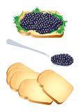 Black caviar. Vector illustration of a sandwich and a spoon with black caviar Stock Photo