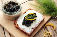 Black caviar for appetizer Stock Images