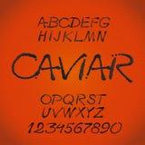 Black caviar. Handwritten caligraphic decorative vector alphabet vector illustration