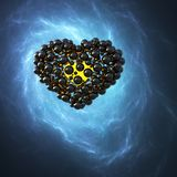 Black caviar heart made of spheres with reflections  on blue galaxy space background. Happy valentines day 3d illustration.  Royalty Free Stock Photos