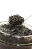 Black Caviar In A Glass Jar Royalty Free Stock Photo