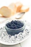 Black caviar in jar Stock Photos