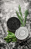 Black caviar in a jar with herbs and salt. Stock Image