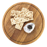 Black caviar and matzah on cutting board, with path Stock Photos