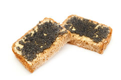 Black caviar sandwich Royalty Free Stock Images