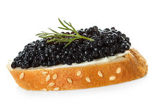 Black caviar served on bread Royalty Free Stock Images