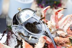 Black caviar served with seafood. Caviar dish served on the restaurant table, creative restaurant meal concept. Appetizing seafood platter Stock Photos