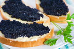 Black caviar on a slice of bread and butter royalty free stock photo