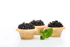 Black caviar in tartlets and mint isolated Stock Photography