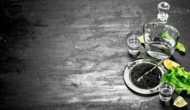 Black caviar with vodka and lemon slices. On a black chalkboard Royalty Free Stock Image